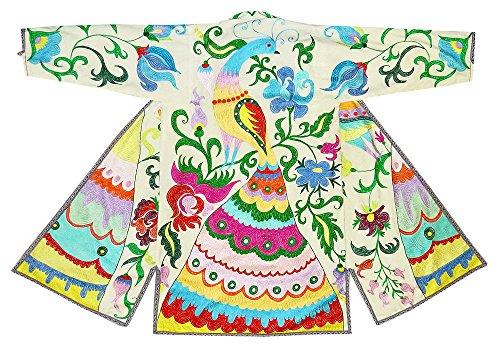 special stitching uzbek traditional uzbekistan outwear costume kaftan caftan robe jacket coat unisex silk embroidered b998 by East treasures