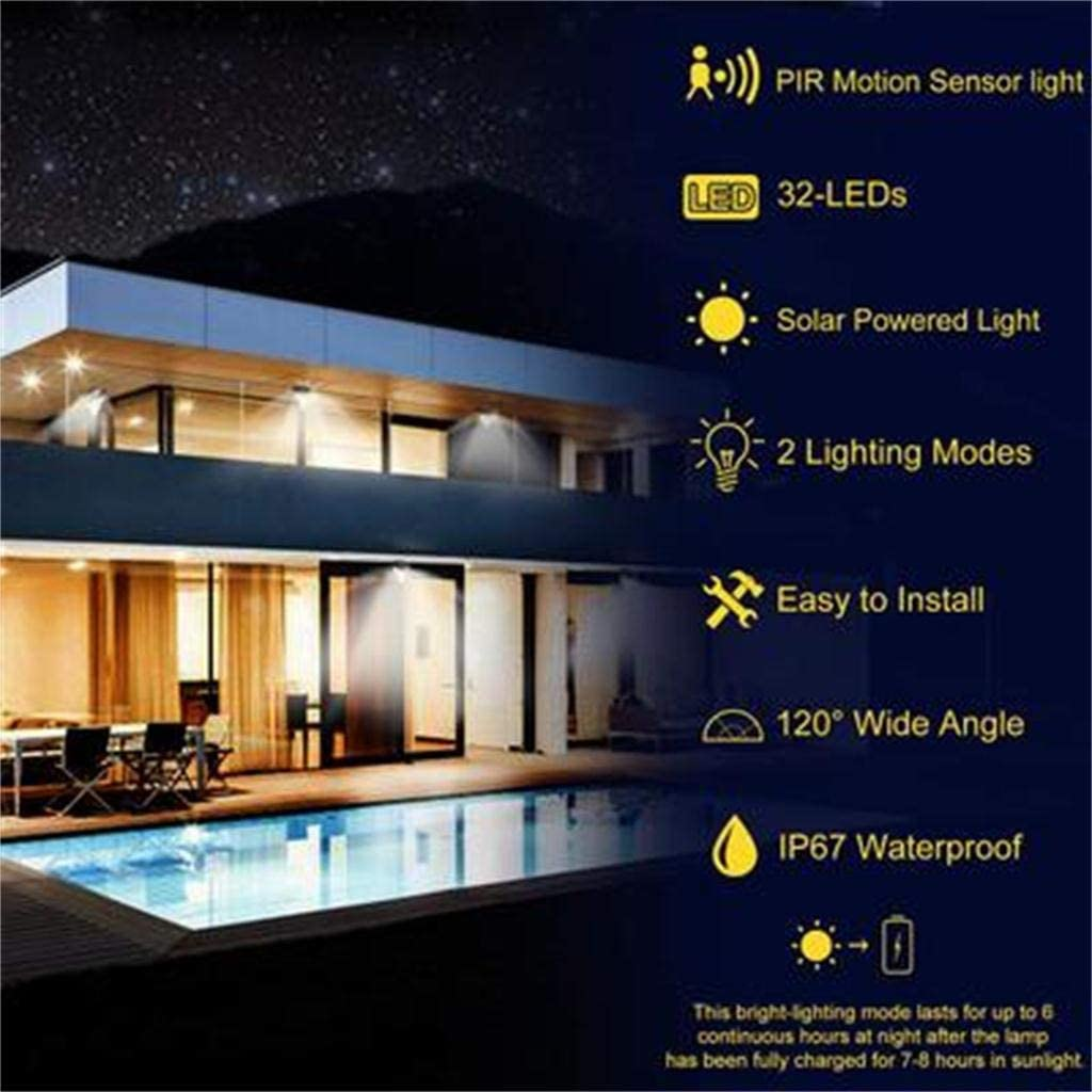 Kiply Solar Lights Outdoor Garage Easy-to-Install Security Lights for Front Door Deck Yard 32Led Spotlight Led Solar Power PIR Motion Sensor Light Outdoor Security Lamp