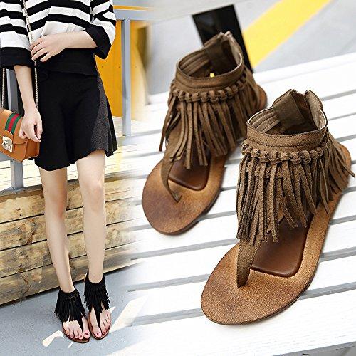 borlas fondo mujer Khaki sandalias zapatos UE RUGAI de plano de Aplastamiento Roma xYIwfZ