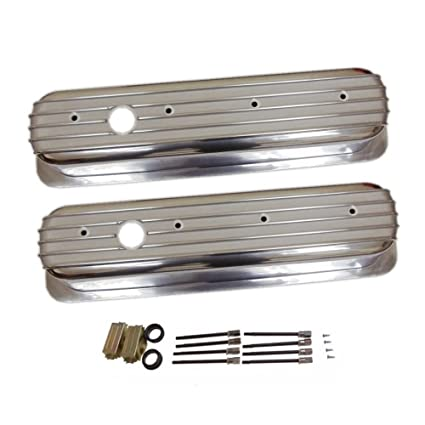 Finned Tall Polished Aluminum Valve Covers Center Bolt For Sbc Chevy