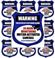 "10 ""REAL"" Blue Burglar Alarm Video Surveillance Security Decals Door & Window Stickers"