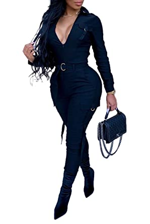 685781c43116 YIQ8 Women s Casual V Neck Long Sleeve Slim Fit Jumpsuit Long Pants High  Waisted Romper with