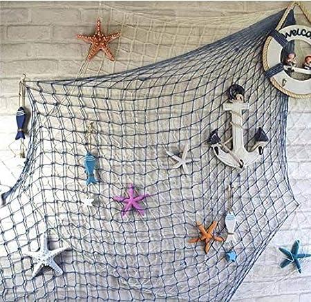 200 x 400 cm Decorazione da Parete Marbeine Tema Nautico Beige Rete da Pesca Decorativa con Conchiglie sospesa