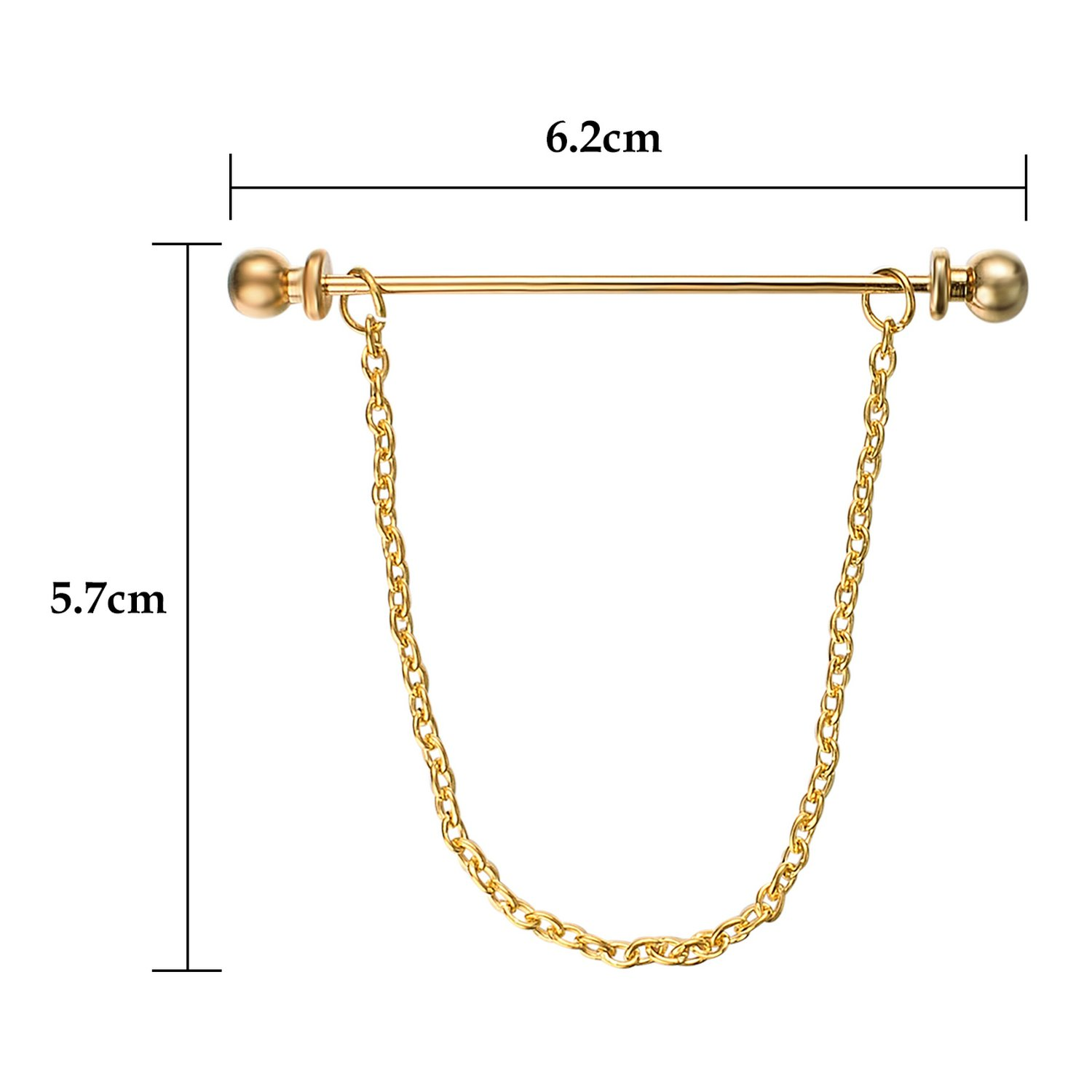 Yoursfs Chain Tie Pin 18K Gold Plated Tie Clip for Men Single Loop Tie Pins and Clips (Tie Chain) by Yoursfs (Image #2)