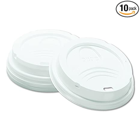 Dixie 8 oz  Dome Plastic Hot Coffee Cup Lid by GP PRO (Georgia-Pacific),  White, 9538DX, 1,000 Count (100 Lids Per Sleeve, 10 Sleeves Per Case)