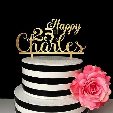 Decoración para tarta de 25 años de oro con diseño de feliz ...
