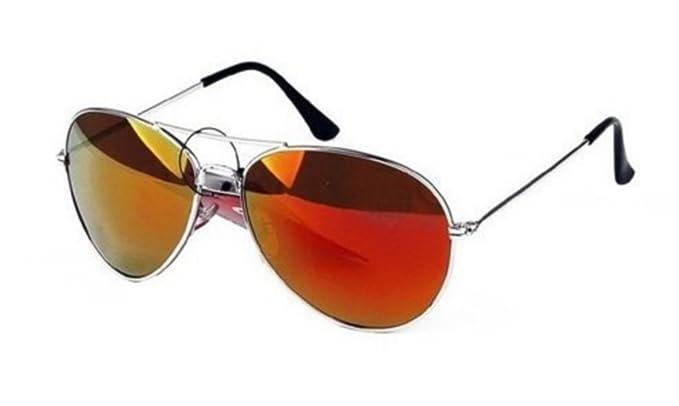 Lunettes de soleil Aviateur - Pilote - Fbi - Monture argent - Verre effet miroir - Fashion tendance qxtOg