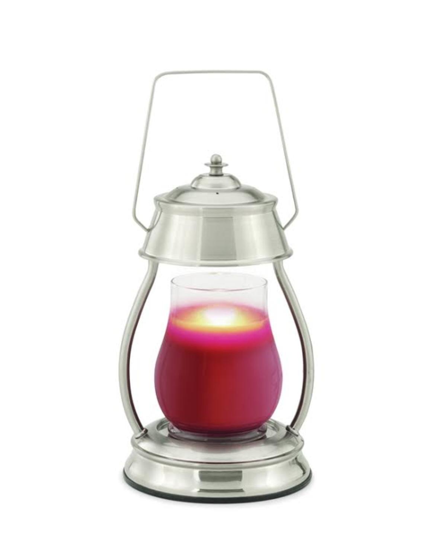 CC Home Furnishings 13'' Decorative Brushed Nickel Hurricane Candle Warmer Lantern