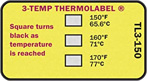 3-Temp Thermolabel 150°F 160°F 170°F Temperature Label for Dishwashers Pack of 16 Labels