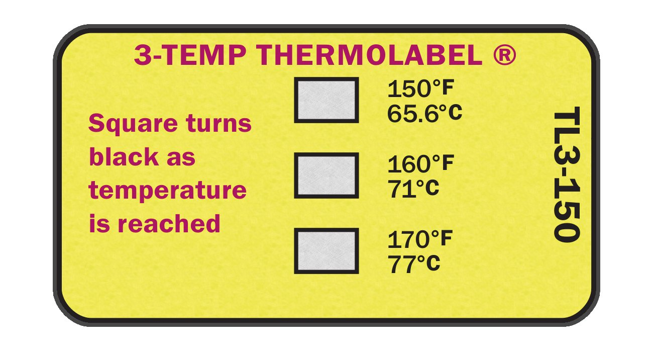 3-Temp Thermolabel 150° F 160° F 170° F Temperature Label for Dishwashers Pack of 16 Labels Paper Thermometer