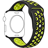 METEQI For Apple Watch Band シリカゲルバンド スポーツシリコンストラップリストバンド交換バンド柔らか運動型 M/L Series3/2/1 (38MM, 黒/黄)