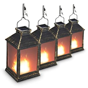 "10"" Vintage Style Solar Powered Lantern Fame Effect(Metallic Coating Black,Plastic),Solar Garden Light with Vivid Fire Effect,Outdoor Solar Hanging Lantern,Decorative Lanterns ZKEE (Set of 4)"