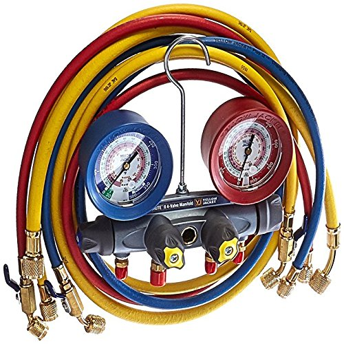 Sight Glass Manifold (Yellow Jacket 46013 Brute II Test and Charging Manifold, F/C, Red/Blue Gauge, psi, R-22/404A/410A)