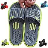 HAOJIALI Shower Slippers Men's House Sandal Slide Bath Shoes Indoor Pool Beach Garden Quick Drying Home Swimming Summer (9 US Men-EUR42-Heel to Toe - 10 1/2 in, Green/Gray)