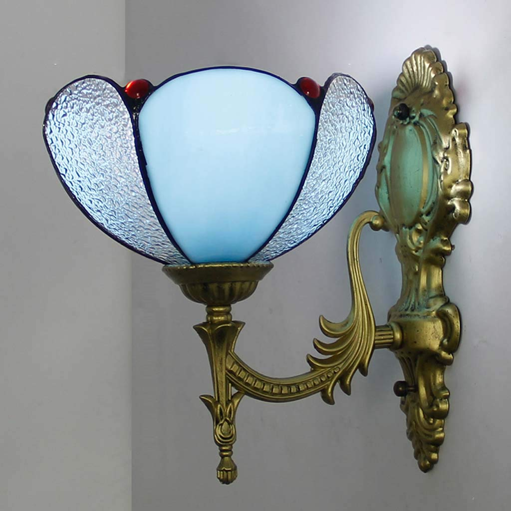 YALANDA 8 Zoll Wandleuchte, Retro Pastorale Blaue Wandleuchten mit heißem Biegetechnologie Glas, Cafe Bar Schlafzimmer Flur Nachtlichter, E27