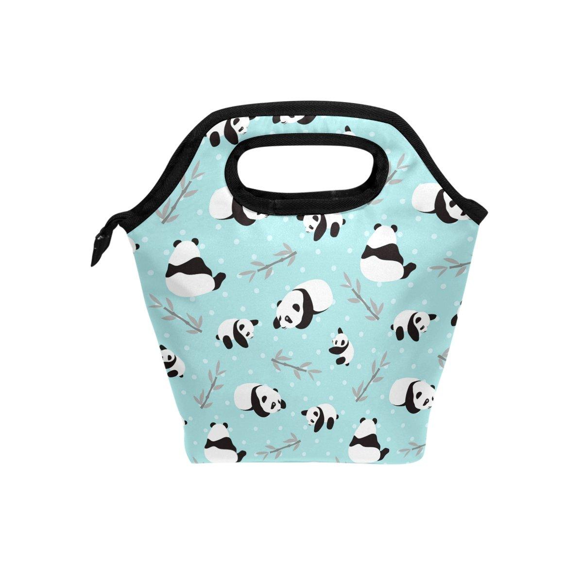 Lunch Tote Bag Blue Panda Bear Neoprene Insulated Cooler Warmer, Portable Funny Lunchbox Handbag for Men Women Adult Kids Boys Girls g5138250p233c268s425