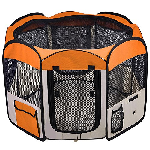 MegaBrand 48″ Soft Sided Octagon Portable Playpen Pet Dog Pen Orange