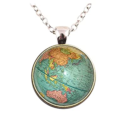 Glass dome jewelry vintage globe necklace planet earth world map glass dome jewelry vintage globe necklace planet earth world map necklace art glass dome pendant necklace gumiabroncs Choice Image