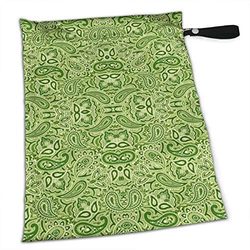 NIAOBUDAI Groovy Green Baby Wet and Dry Cloth Diaper Bags, Nappy Organizer Bag, Multipurpose Travel Packing Organizer Bags for Swimsuit, Underwear, Washable & Reusable