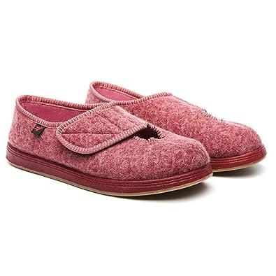 fee146c576b2 Orthopedic Slippers - Women s Extra Wide Adjustable Slippers Comfortable Diabetic  Edema Footwear (7) Wine