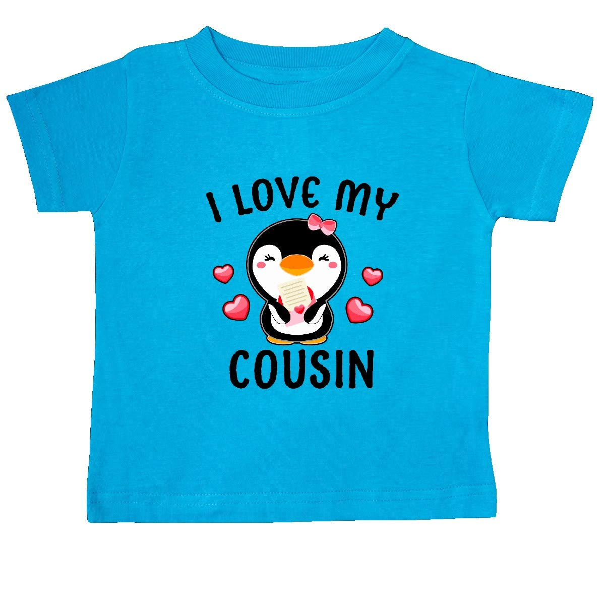 inktastic I Love My Cousin with Cute Penguin and Hearts Baby T-Shirt
