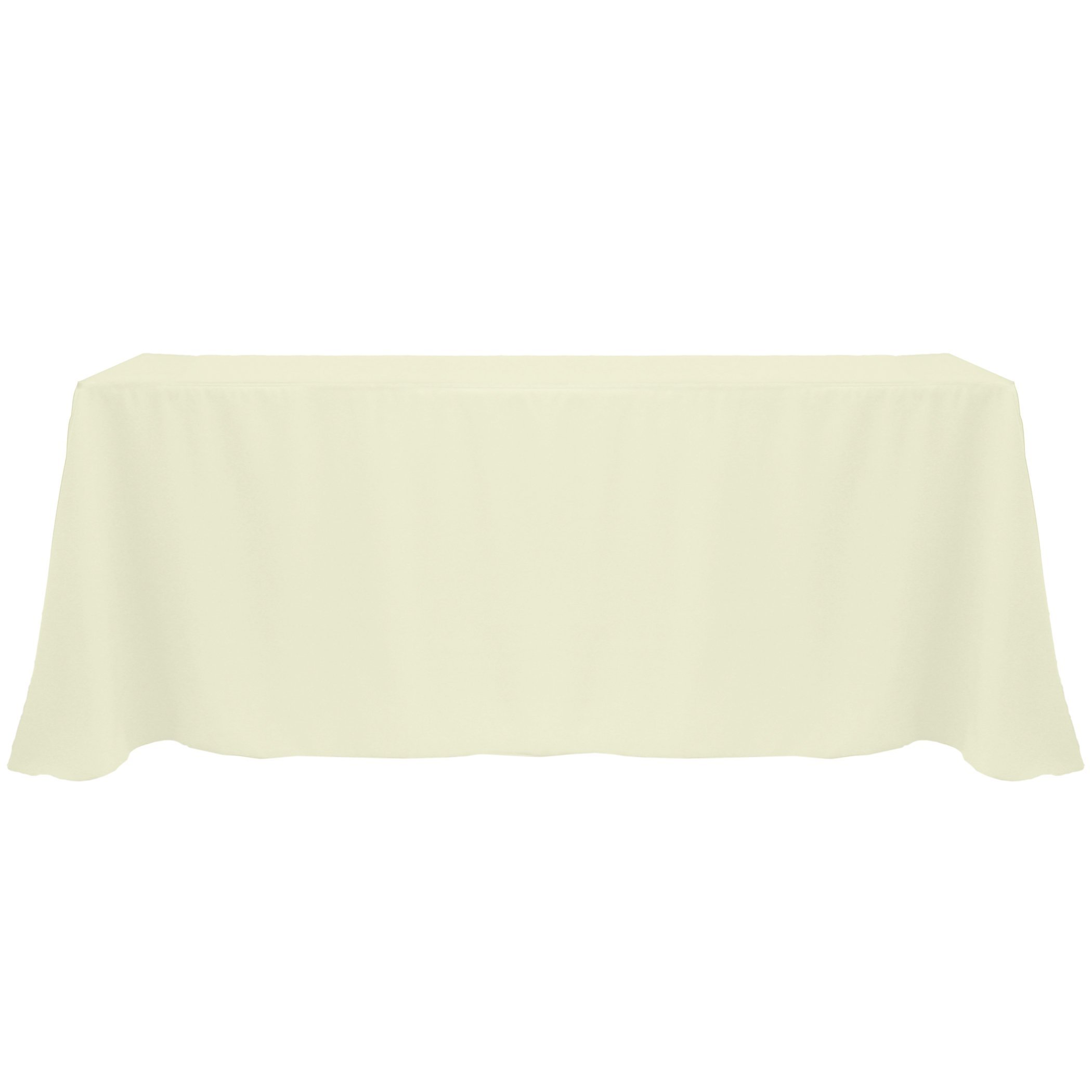 Ultimate Textile (5 Pack) 90 x 132-Inch Rectangular Polyester Linen Tablecloth with Rounded Corners - for Wedding, Restaurant or Banquet use, Ivory Cream by Ultimate Textile (Image #2)