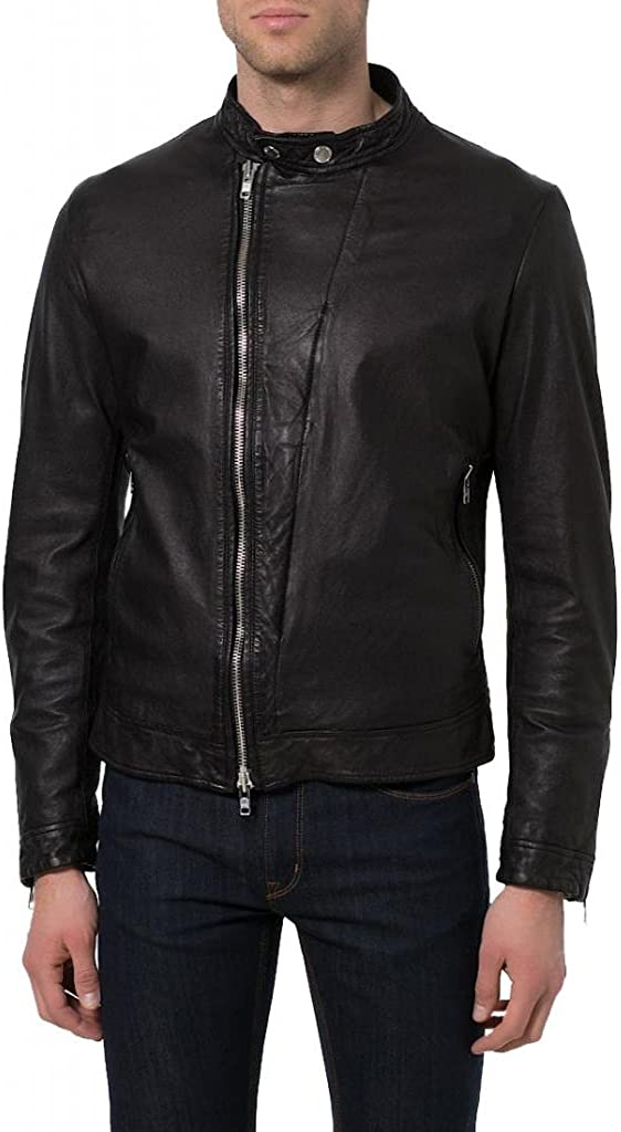New York Leather Leather Bomber Mens Slim Fit Lambskin Biker Motorcycle Jacket