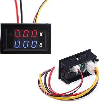 DC 4.5-30V Voltmeter Ammeter+Blue//Red LED Amp Dual Digital Volt Meter Gauge