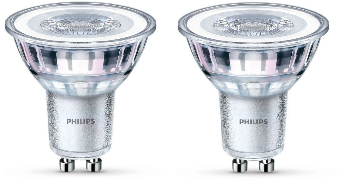 Philips - Bombilla LED Foco GU10 Cristal, 4.6 W Equivalente a 50 W, Luz Blanca Cálida, 355 Lúmenes, No Regulable - Pack de 2: Amazon.es: Iluminación
