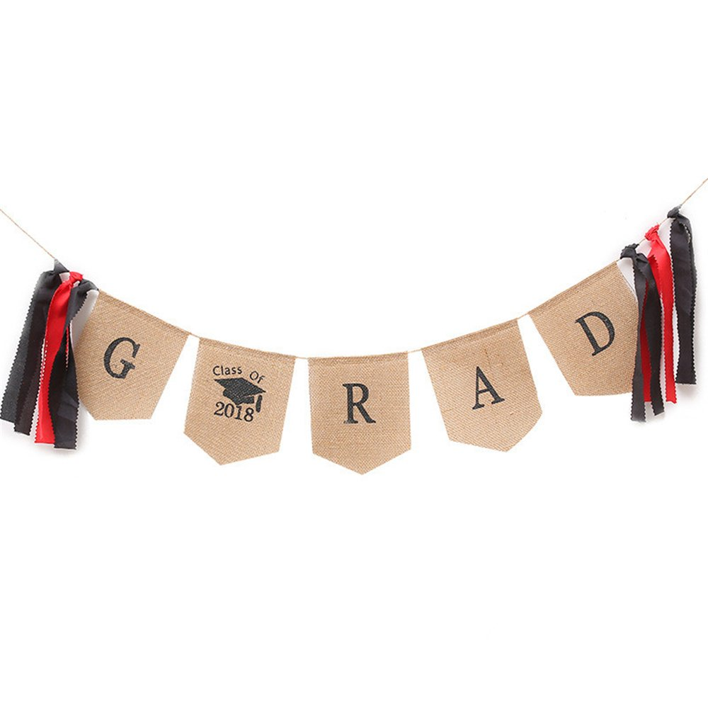 Class of 2018 Grad Banner Burlap Graduation Party Decorations Photo Props Graduation Cap College Accessory Party Decor Congratulations Sign