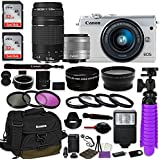 Canon EOS M100 Mirrorless Digital Camera (White) Bundle w/Canon EF-M 15-45mm IS STM & EF 75-300mm f/4-5.6 III Lenses + Auto (EF/EF-S to EF-M) Mount Adapter + Canon Water Resistant Case + Accessories