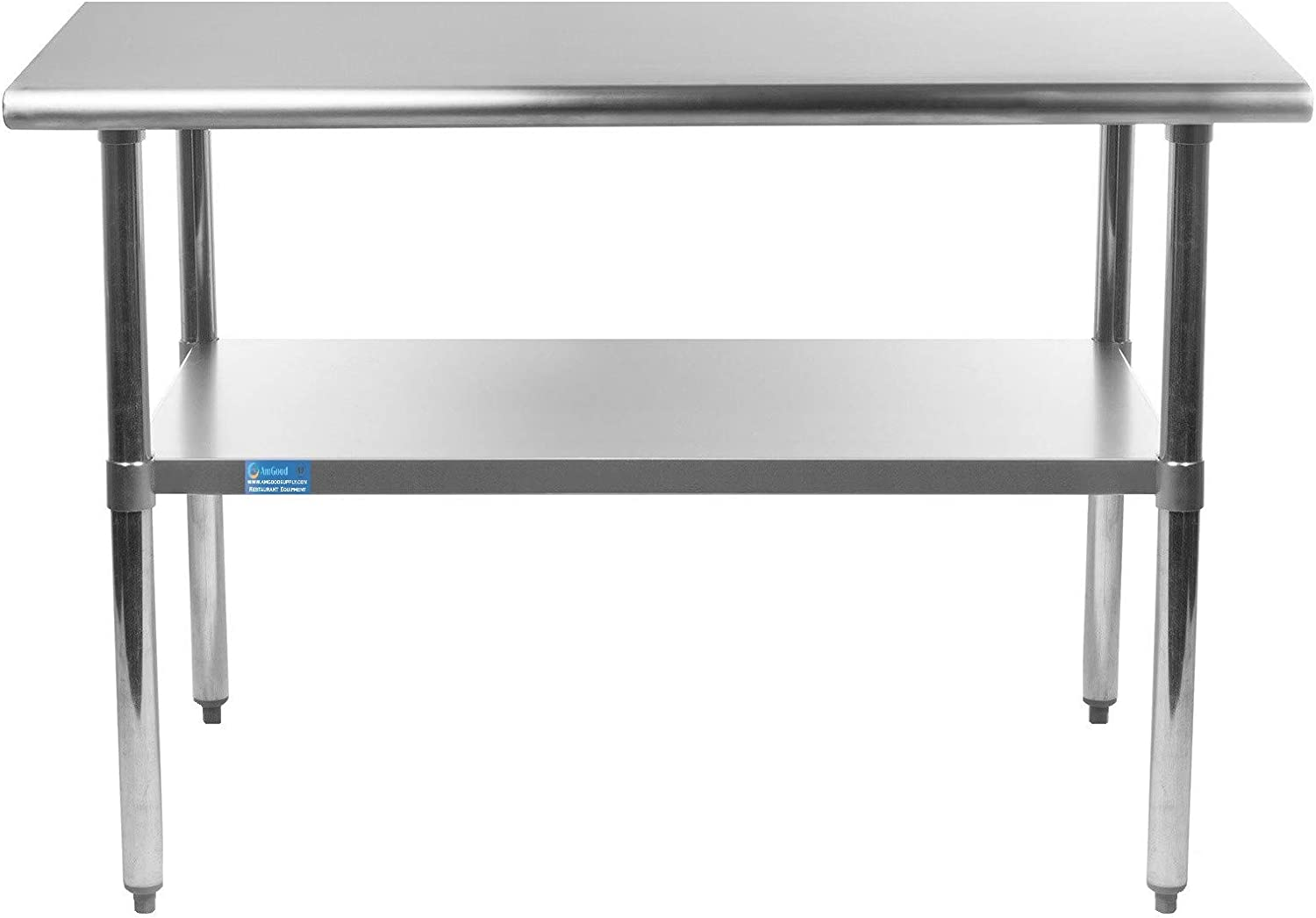 "AmGood 14"" X 30"" Stainless Steel Work Table with Undershelf 