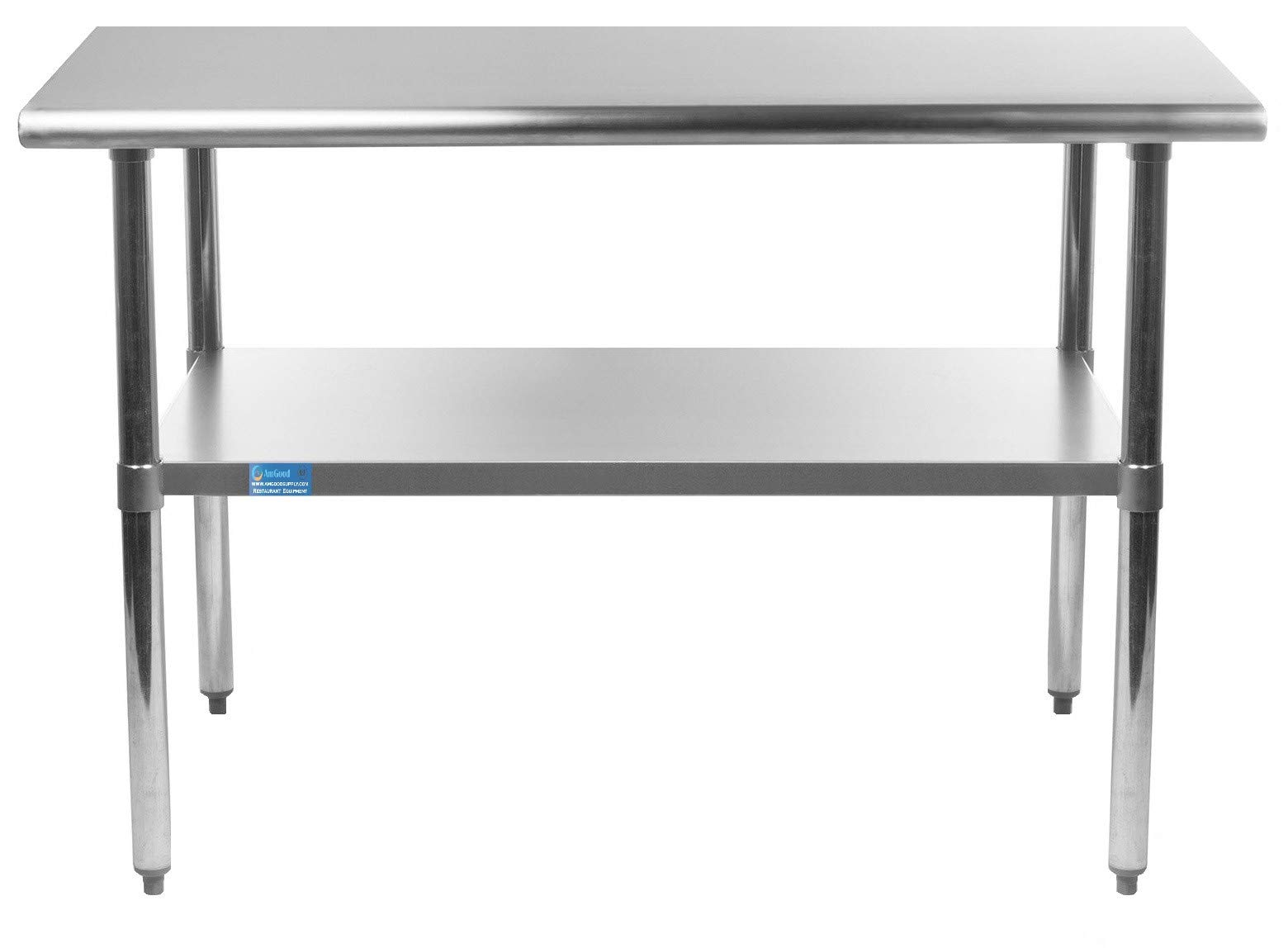 18'' X 30'' Stainless Steel Work Table with Undershelf | NSF Certified | Laundry Garage Utility Bench | Kitchen Island Food Prep