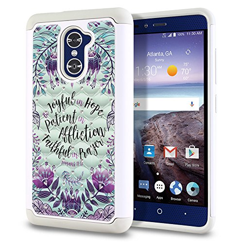 ZTE Grand X Max 2 Kirk Z988 Imperial Z963U Duo 4G Z962G Case, Fincibo (TM) Dual Layer Shock Proof Hybrid Protector Cover Silicone Star Studded Rhinestone, Bible Verses Romans 12:12 (Roman Studded Belt)