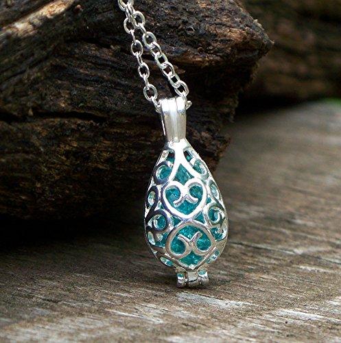 - Recycled Vintage Mason Jar Filigree Teardrop Necklace