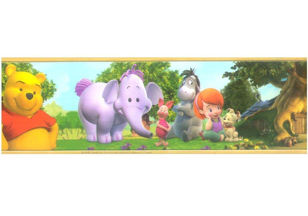 Bordo adesivo bambini Winnie The Pooh and Friends - Misure: 10 m. x 13, 3 cm altezza - Decorazione per camerette e sale gioco - Bordo autoadesivo M.Service Srl