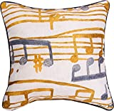 Manual Woodworkers and Weavers Indoor/Outdoor Climaweave Throw Pillow,  Music Stanzas II, 18\