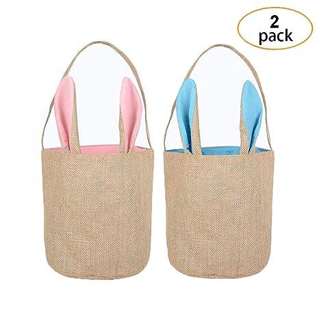 Amazon.com: 2 bolsas reutilizables de conejo de Pascua de ...