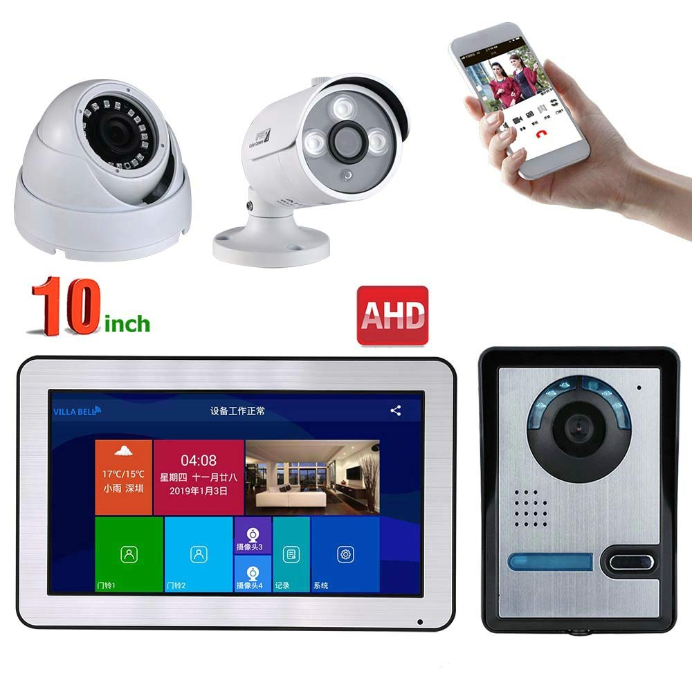 JINPENGPEN 10 inch WiFi Intelligent Video intercom Access Control System and 2CH AHD Security Camera Support Remote APP