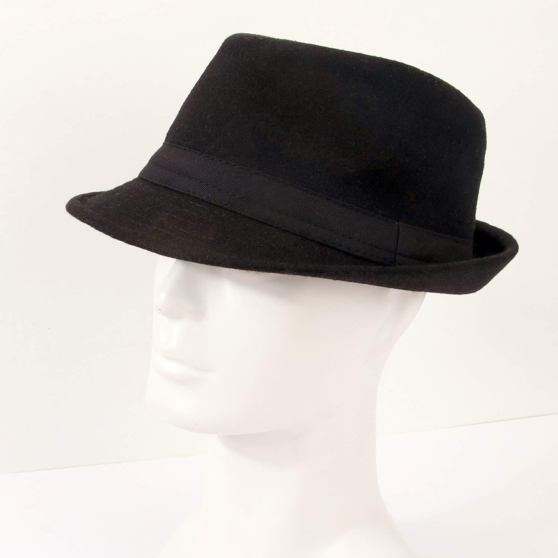 Melesh Unisex Classic Trilby Fedora Hat (Black) by Melesh (Image #5)