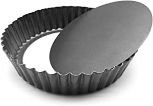 """HOMOW Nonstick Heavy Duty Tart Pan With Removable Bottom, Removable Loose Bottom Quiche Pans, Pie Pan (9.5"""" X 2"""")"""
