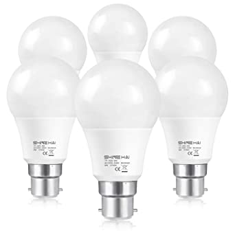 SHINE HAI Bombillas LED B22, Equivalente a 60w, Blanco natural 2700k, 8W BAJO