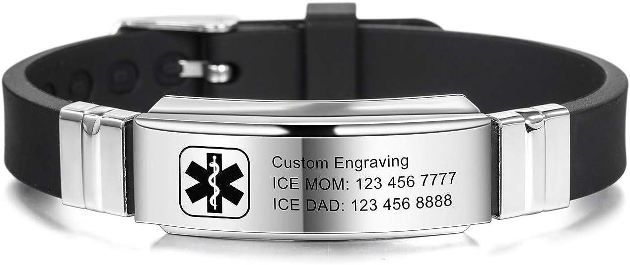VNOX Custom Engraving Silicone Rubber Sport Medical Alert ID Emergency Identification Bracelet for Men Women Boys Girls