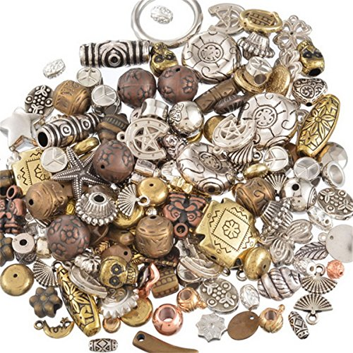 100 Gram Mixed Color Assorted Shapes Acrylic Plastic Beads Antique Gold Antique Silver Brown