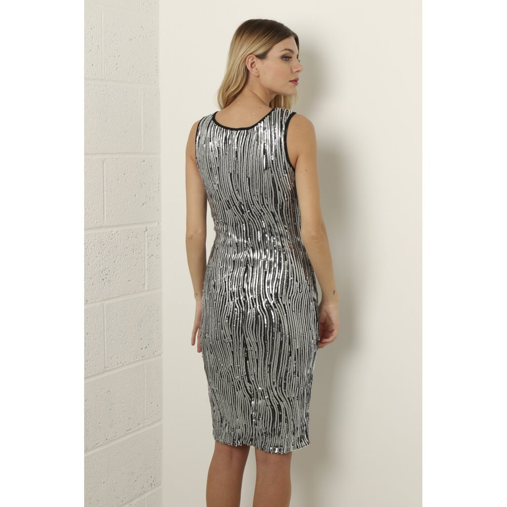 Miss Foxy Womens Fitted Sequin Dress