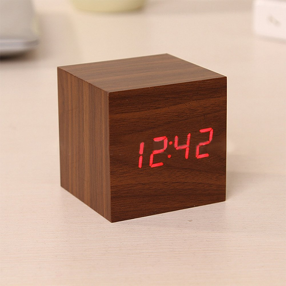LED Digital Alarm Clock ixaer Wood Digital LED Brown Alarm Clock with Time Date Hygrometer And Temperature Clock - Multi-functional Small Silent Modern Style Electronic Alarm Clock by ixaer (Image #5)