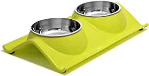 UPSKY Double Dog Cat Bowls Premium Stainless Steel Pet Bowls No-Spill Resin Station, Food Water Feeder Cats Small Dogs.