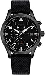 Black Fabric Watch high-end Automatic Mechanical Watches Swiss Wave Military Pilots Waterproof Mens Watch