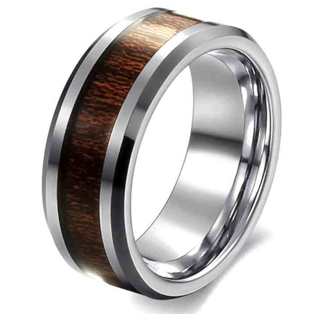 SAINTHERO Men's Classic 8MM Wedding Bands 316L Stainless Steel Best Promise Rings with Hawaii KOA Wood Inaly Size 10