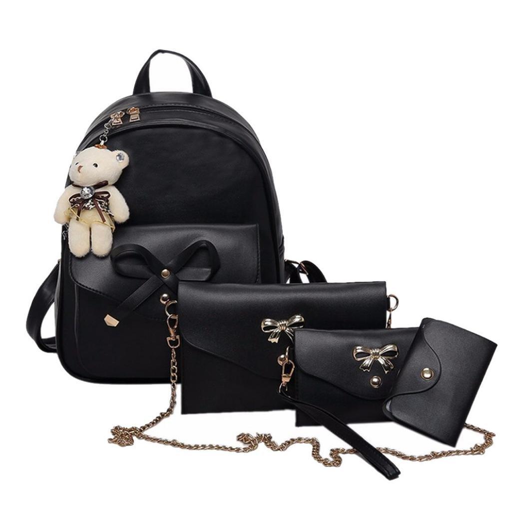 Pausseo Women Four Sets Backpack Handbag Shoulder Bags Cross Body Bag Cosmetic Makeup Case Student Tote Bag Portable Handbag Shopping Packages Messenger Bag Zipper Bag for School Supplies (Black)